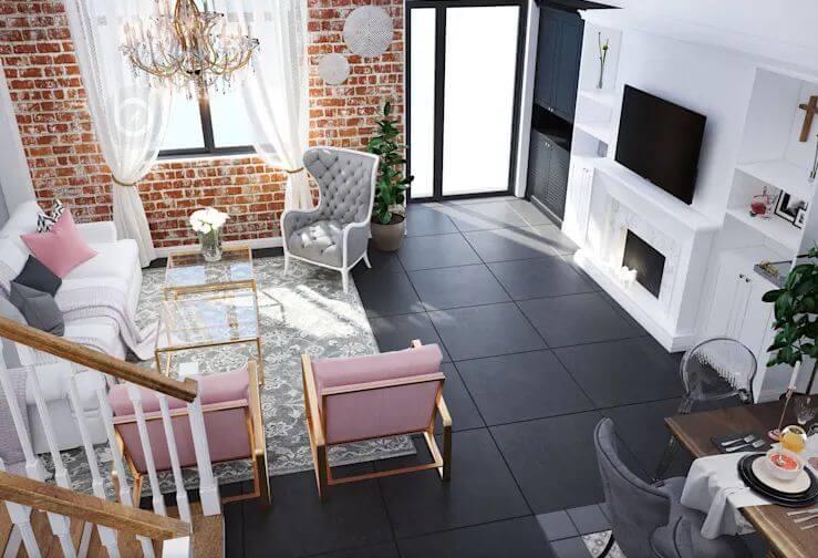 Không gian phòng khách rộng thoáng, sáng sủa - Thiết kế Studio kết hợp với không gian nhà phố