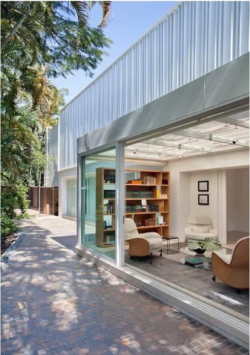 Không gian phòng đọc như hòa mình với thiên nhiên - Mẫu nhà vườn đẹp