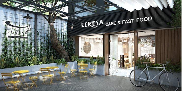 Sân trong rộng và thoáng - Thiết kế quán Cà phê nhỏ