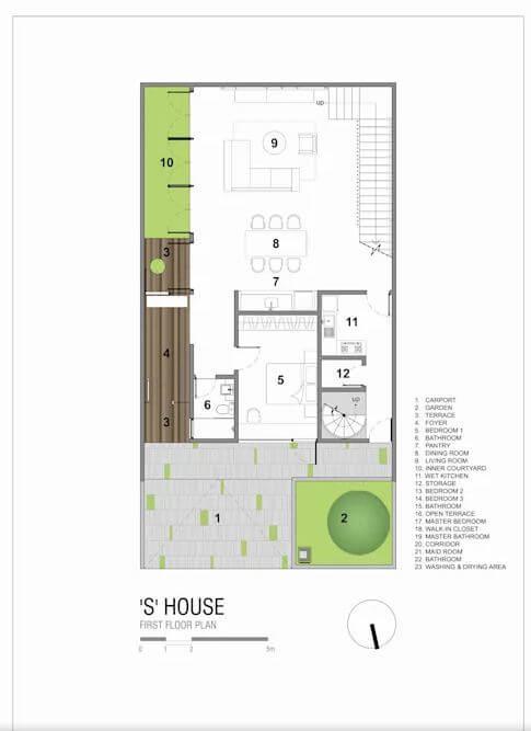 Bản vẽ kỹ thuật chi tiết 2 tầng nhà và mái - Ngôi nhà phố 2 tầng hiện đại đẹp