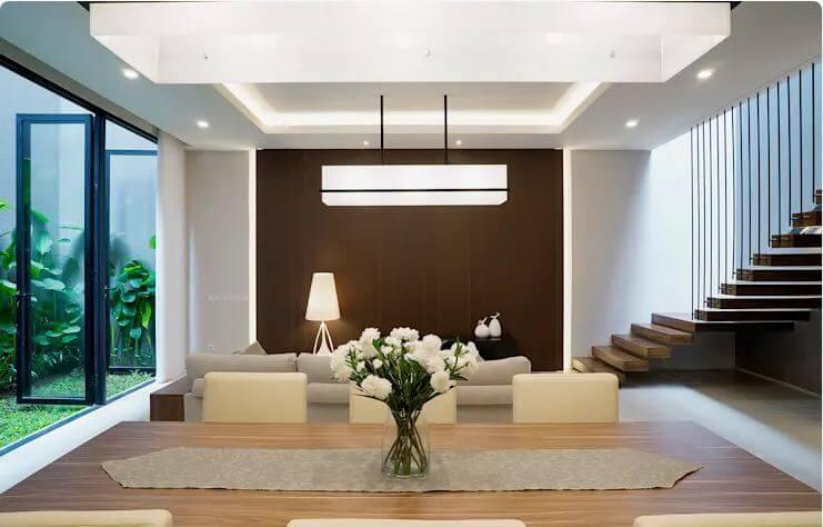 Phòng khách thông với phòng ăn tiện dụng - Ngôi nhà phố 2 tầng hiện đại đẹp - 1