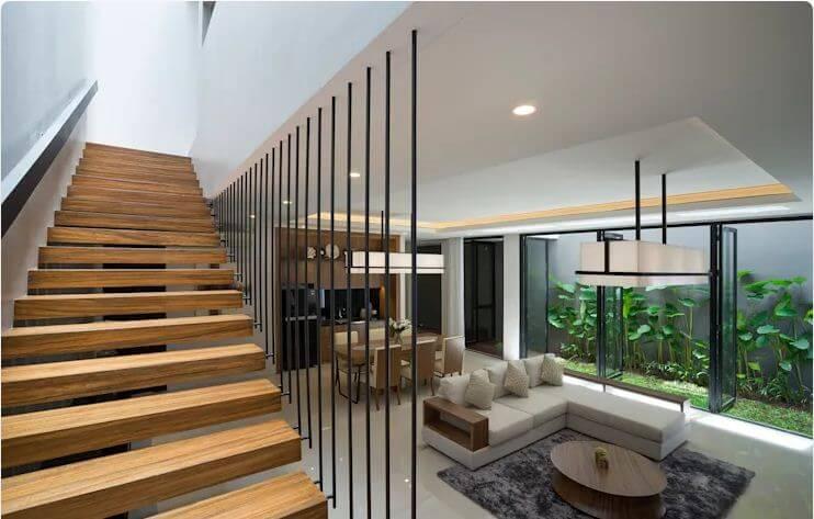 Cầu thang gỗ tối giản - Ngôi nhà phố 2 tầng hiện đại đẹp