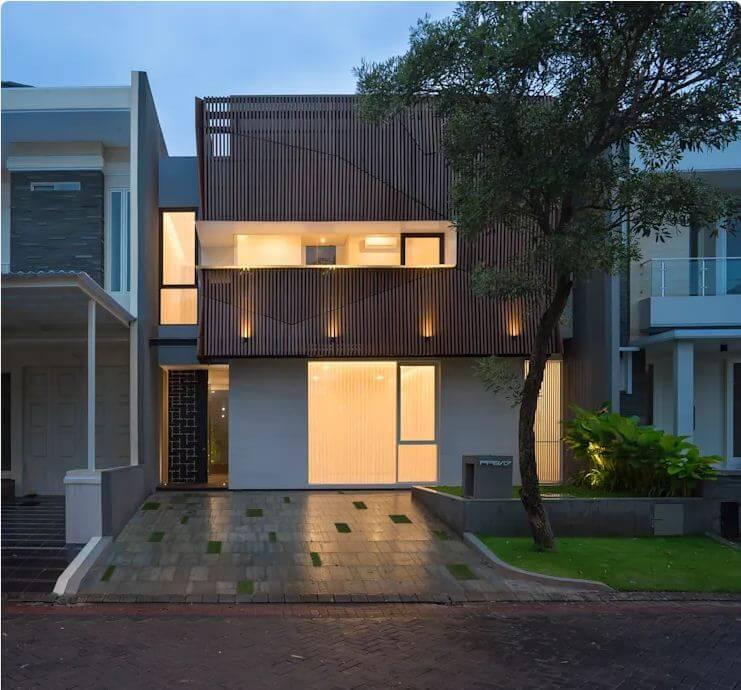 Thiết kế mặt tiền - Ngôi nhà phố 2 tầng hiện đại đẹp