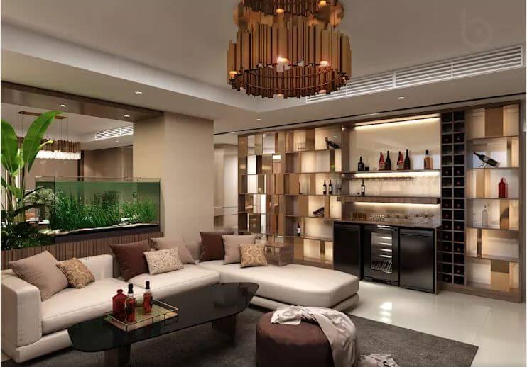 Phòng khách khang trang - Thiết kế nội thất căn hộ Penthouse