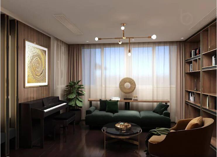 Phòng làm việc với thư viện - Thiết kế căn hộ Penthouse - 1