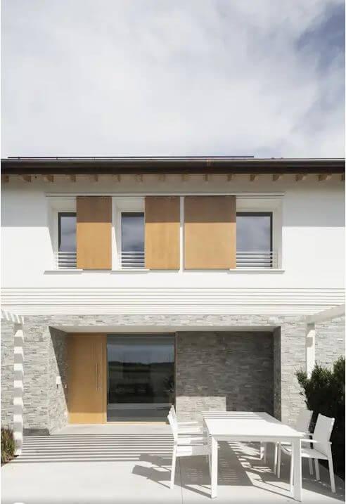 Vật liệu tự nhiên kết hợp ăn ý - Mẫu biệt thự 2 tầng đẹp