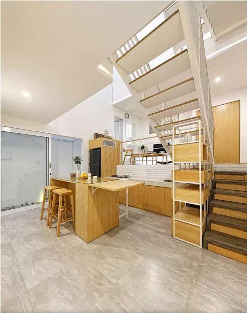 Không gian nội thất với chất liệu gỗ làm chủ đạo - Mẫu nhà phố 2 tầng 1 lửng - 3