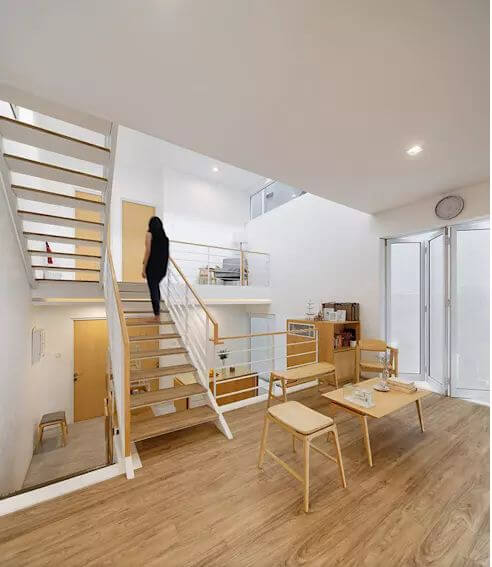 Không gian nội thất với chất liệu gỗ làm chủ đạo - Mẫu nhà phố 2 tầng 1 lửng - 4