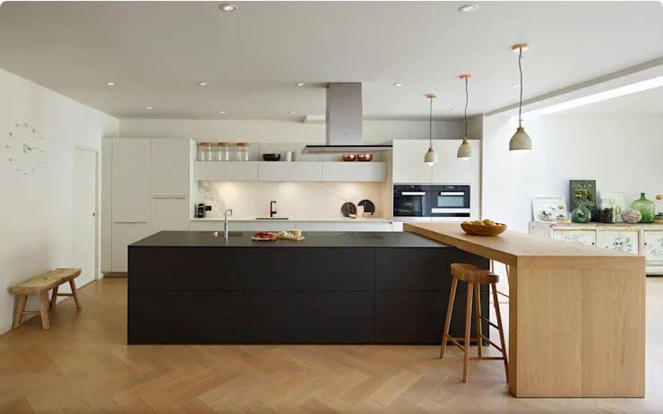 Kết hợp nhiều vật liệu - Thiết kế bếp hiện đại