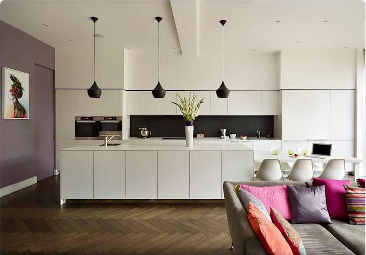 Mẫu bếp trắng cổ điển - Thiết kế bếp hiện đại