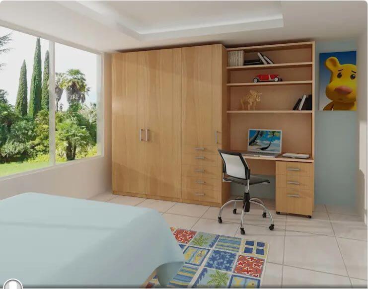 Kết hợp tủ với bàn học - Thiết kế tủ gỗ