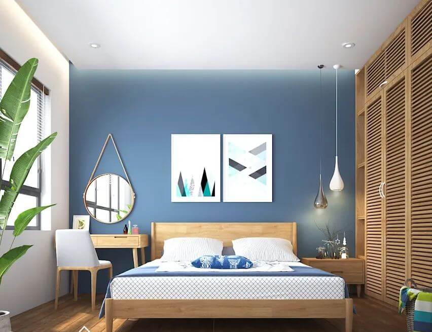 Màu xanh biển nhẹ nhàng - Phòng ngủ đẹp hiện đại