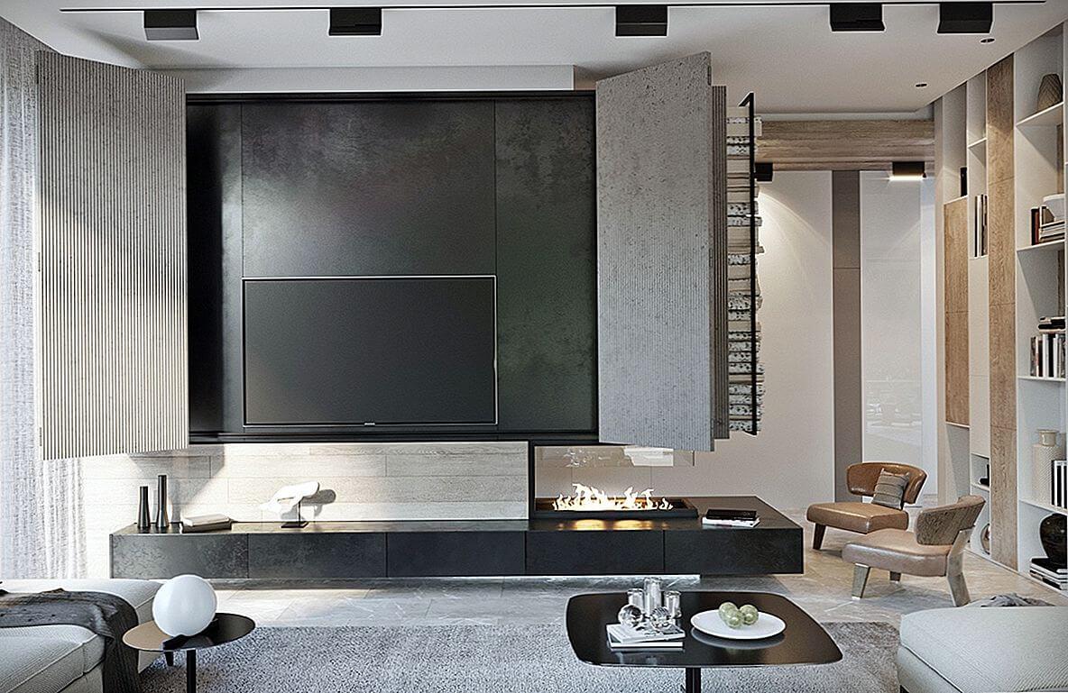 Giấu TV thật khéo léo - Trang trí phòng khách đẹp