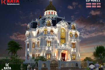 Phối cảnh 3D ngoại thất của mẫu lâu đài dinh thự 4 tầng tân cổ điển đẹp tại Hà Nội