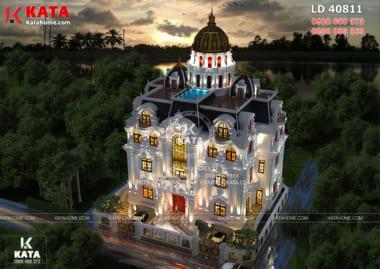 Phối cảnh mẫu lâu đài dinh thự 4 tầng tân cổ điển đẹp khi được nhìn từ trên cao xuống
