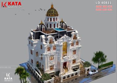 Mẫu lâu đài dinh thự 4 tầng tân cổ điển hiện lên với vẻ uy quyền, hưng vượng