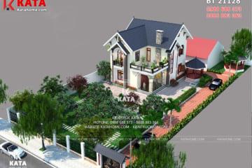 Mẫu nhà mái thái 2 tầng đẹp tại Hà Nội nhìn từ trên cao