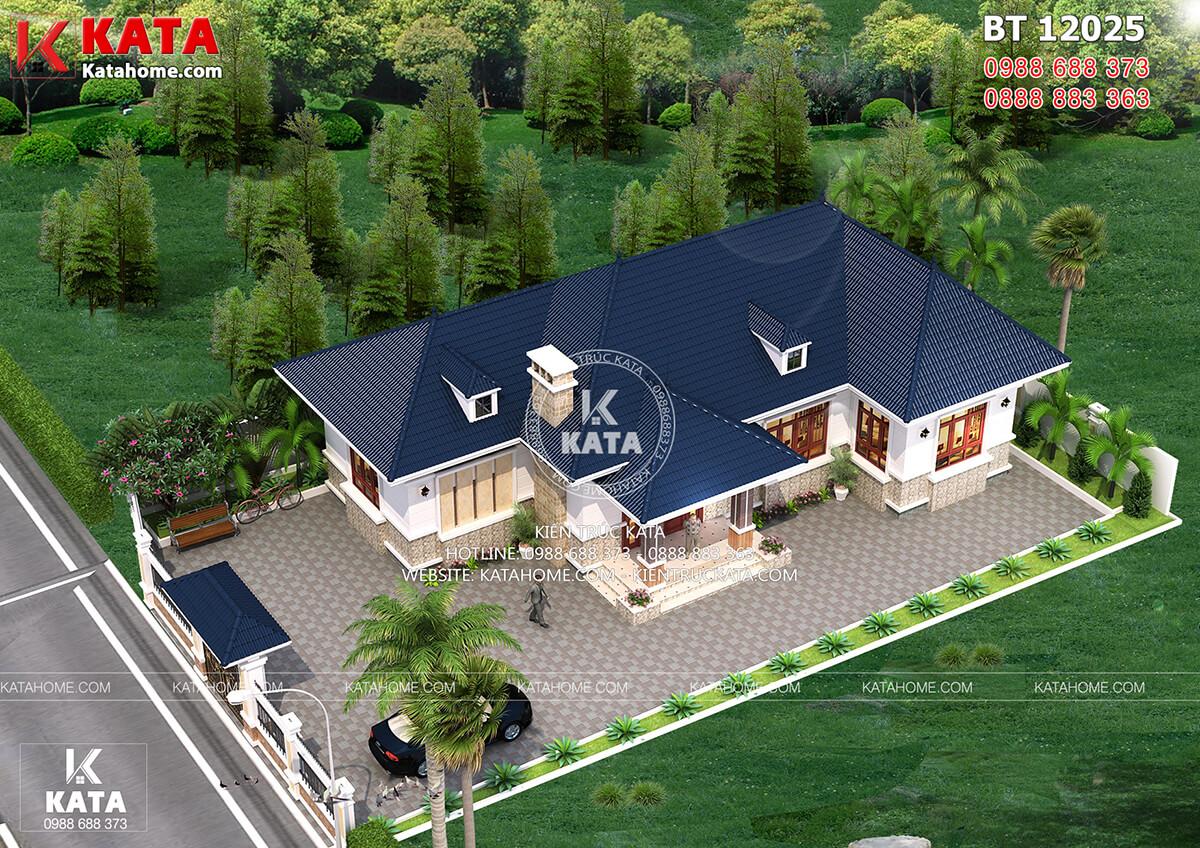 Mẫu nhà vườn 1 tầng 4 phòng ngủ tại Quảng Ninh nhìn từ trên cao
