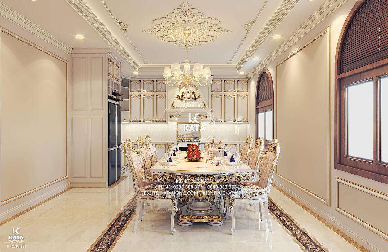 Thiết kế nội thất phòng bếp ăn tân cổ điển đẹp 02