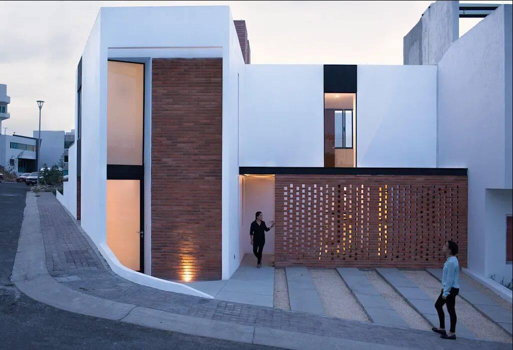 Độc đáo với gạch đất nung - Bản vẽ thiết kế nhà 2 tầng