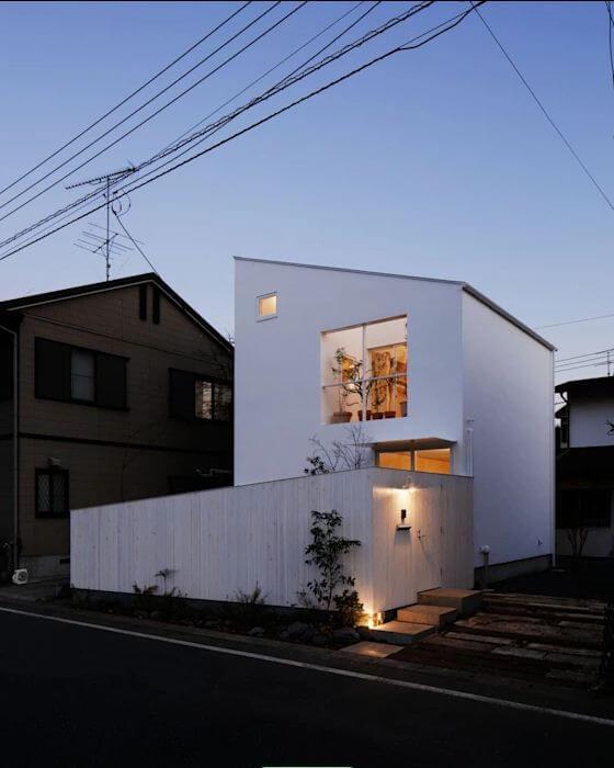 Nhà mái lệch với tone màu trắng tinh tế - Bản vẽ thiết kế nhà 2 tầng - 1
