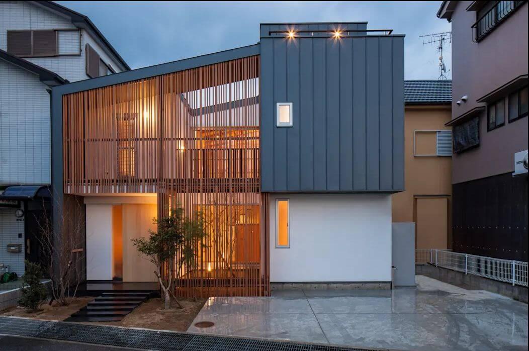 Bắt mắt với hệ lam gỗ - Bản vẽ thiết kế nhà 2 tầng