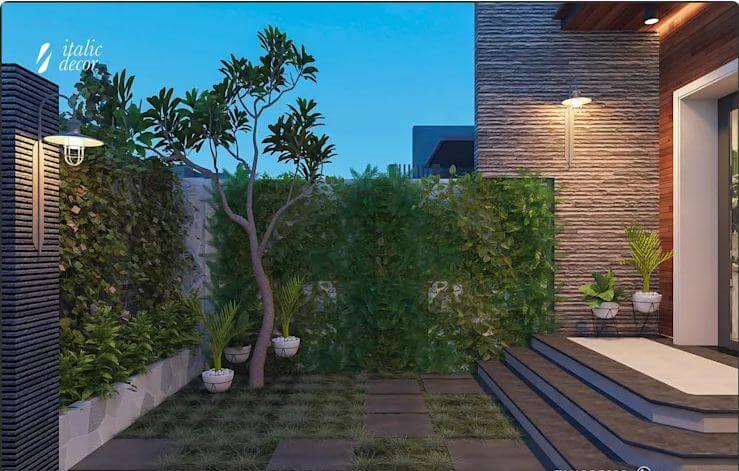 Vườn cây trước sảnh đón khách - Biệt thự nhà vườn 218m2