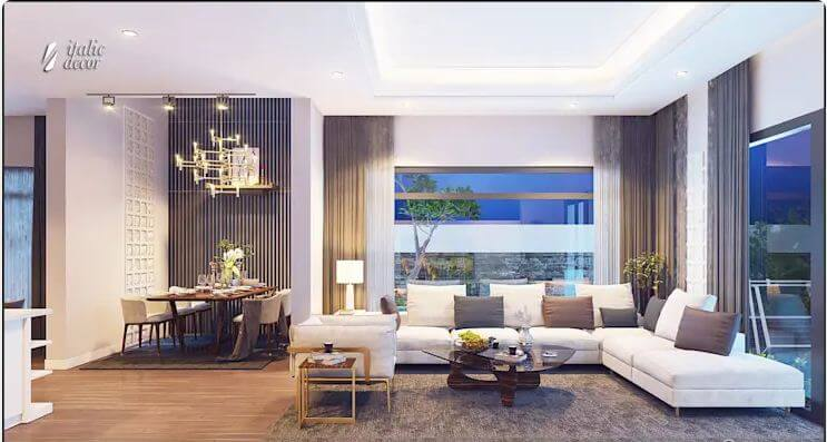 Không gian phòng khách khang trang - Biệt thự nhà vườn 218m2