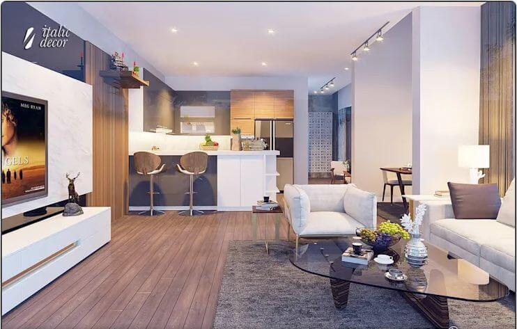 Quầy bếp hiện đại - Biệt thự nhà vườn 218m2