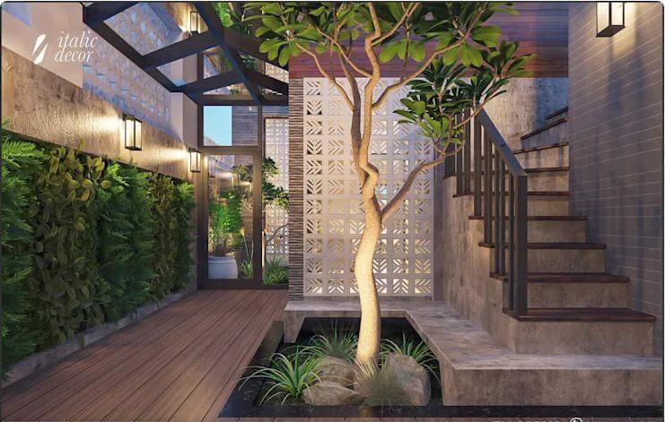 Thiết kế thang thô mộc - Biệt thự nhà vườn 218m2 - 1