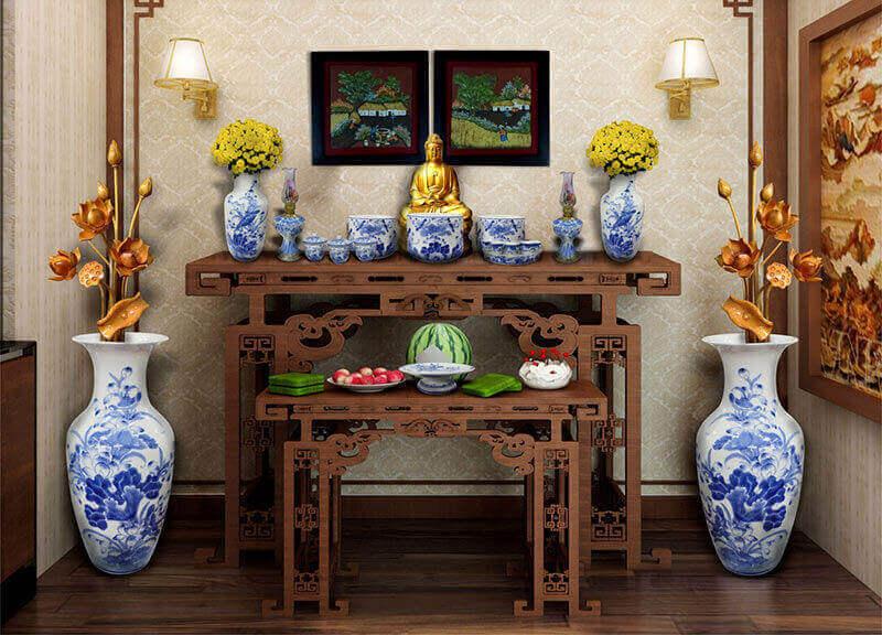 Độ cao của bàn thờ và màu sắc phù hợp - Cách đặt bàn thờ