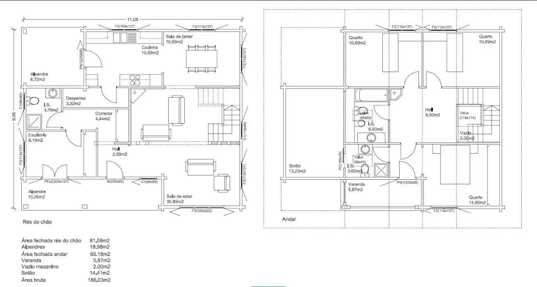 Bản vẽ của căn nhà vườn 2 tầng
