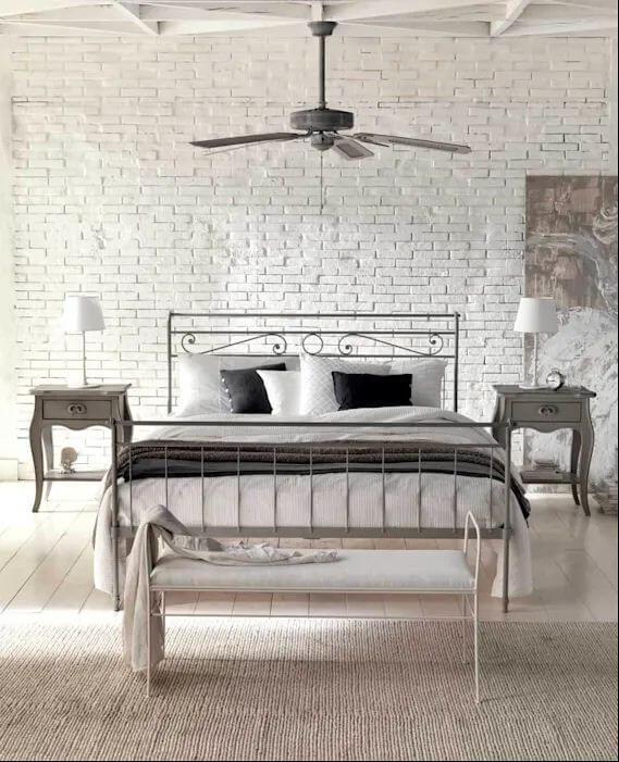 Gạch thô sơn trắng cho phòng ngủ Bắc Âu - Gạch ốp tường
