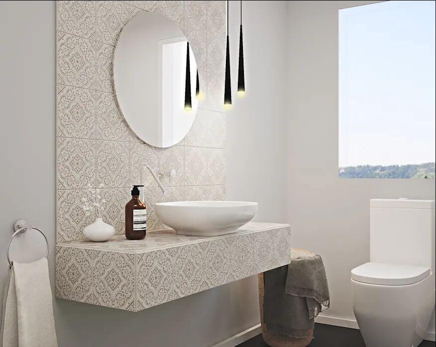 Gạch men tạo họa tiết cho phòng tắm - Gạch ốp tường
