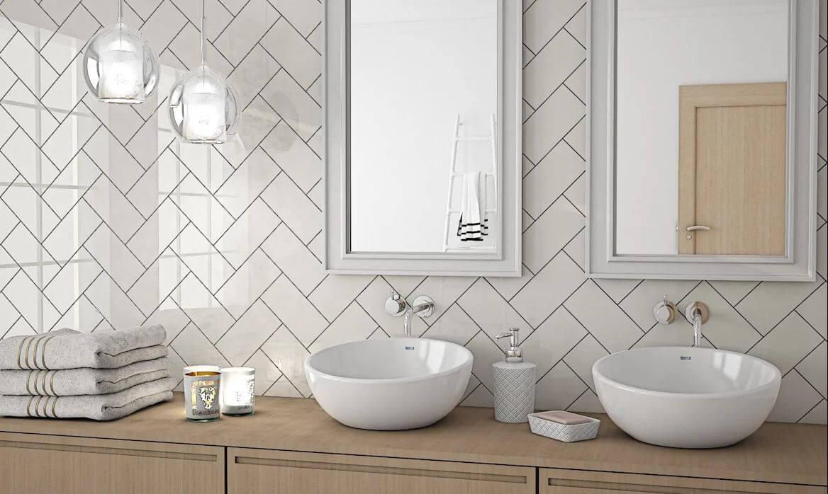 Gạch men trắng với bề mặt bóng gương - Gạch ốp tường