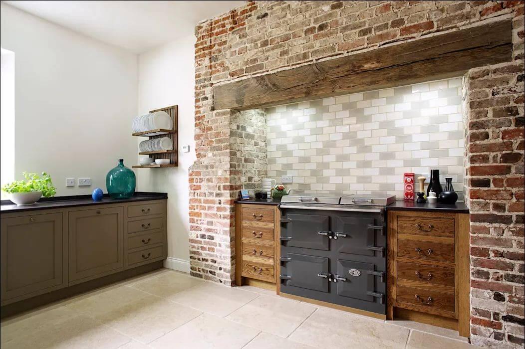 Gạch thô cho căn bếp mộc - Gạch ốp tường