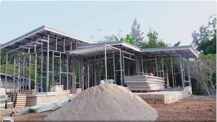 Kết cấu khung kim loại bền vững - Xây nhà trệt 3 gian 70m2