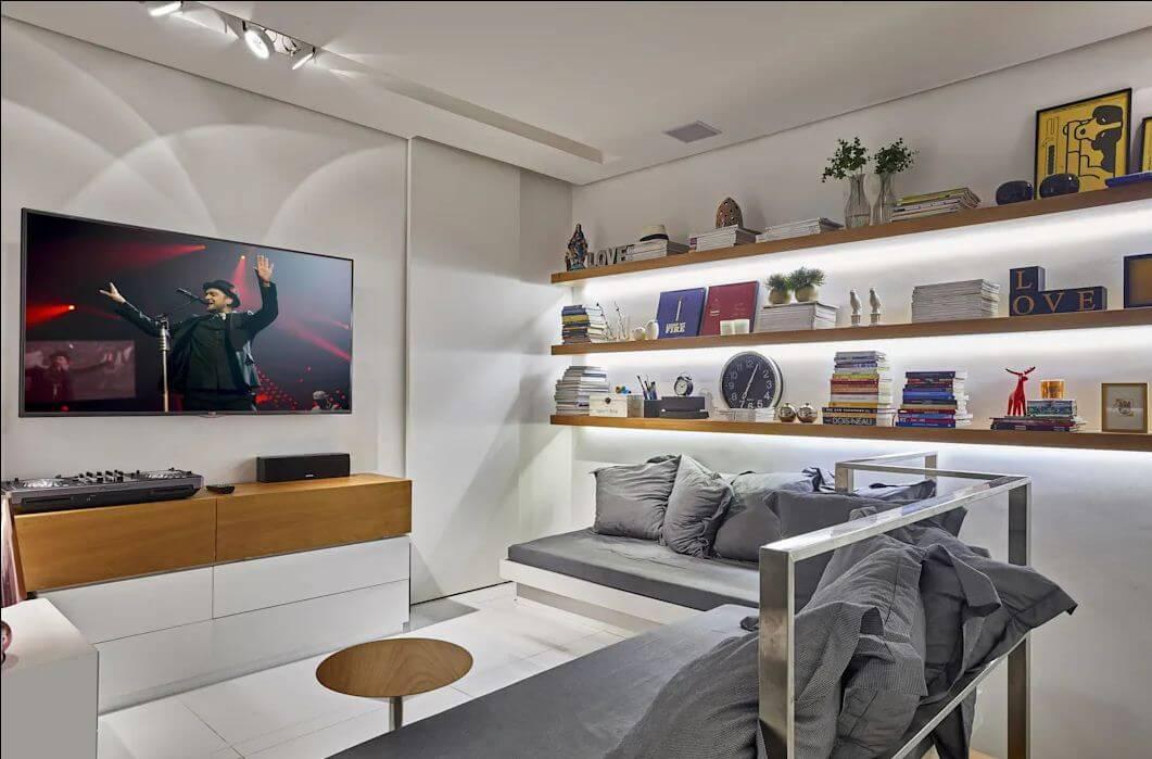 Kệ TV phối 2 mầu trắng và màu gỗ có ngăn kéo - Kệ tivi phòng khách
