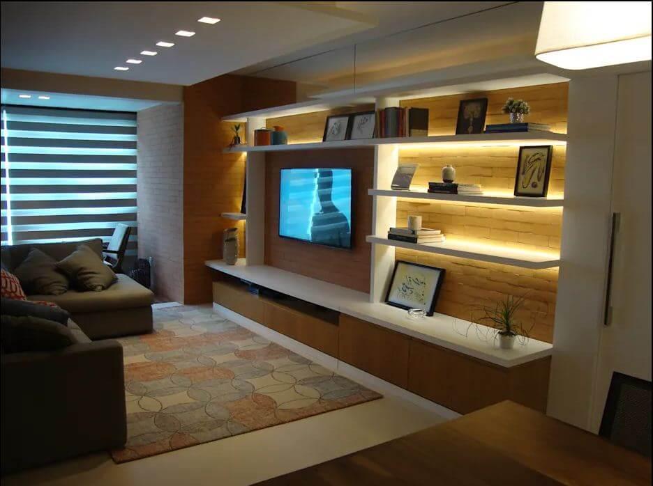 Kệ TV kết hợp giá trang trí cùng hệ thống đèn LED chiếu sáng - Kệ tivi phòng khách