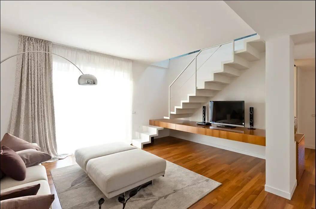 Kệ TV kết hợp cầu thang - Kệ tivi phòng khách