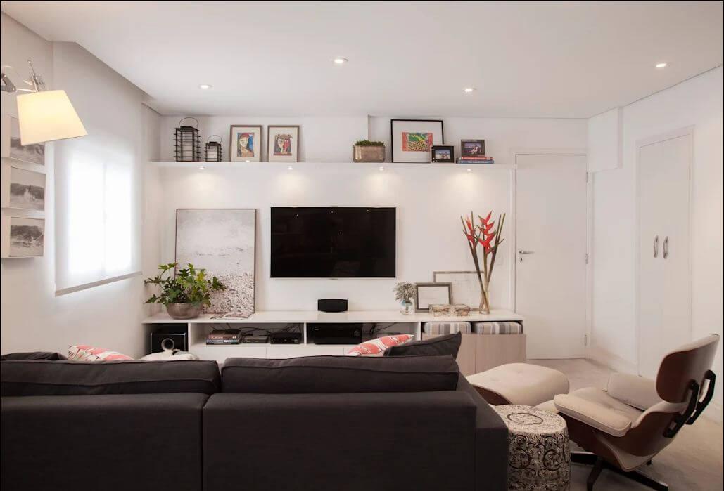 Kệ TV trắng nhiều ngăn thấp - Kệ tivi phòng khách