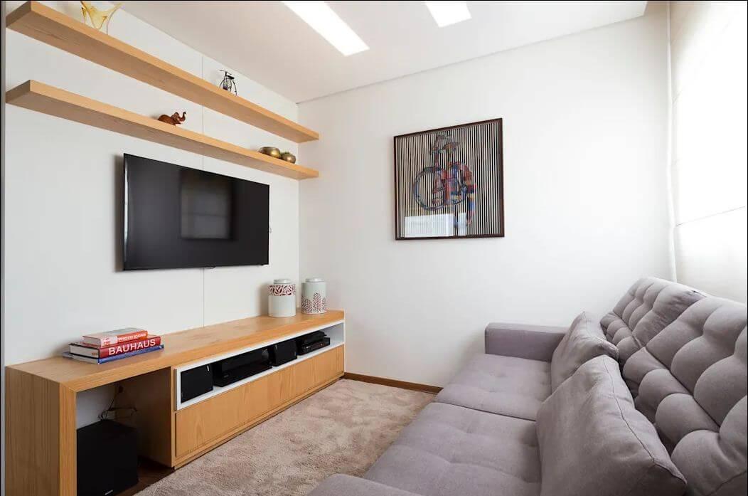 Kệ TV gỗ sáng màu mẫu mã hiện đại kết hợp TV treo tường - Kệ tivi phòng khách