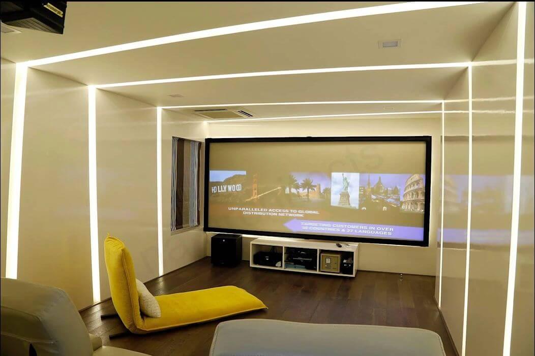 Kệ mini kết hợp phòng chiếu phim tại nhà - Kệ tivi phòng khách