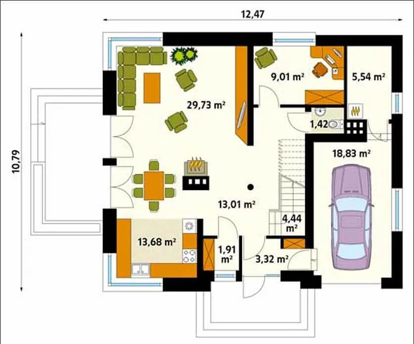 Sơ đồ mặt bằng tầng 1 - Căn nhà 120m2