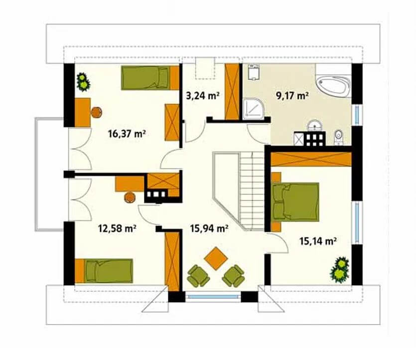 Sơ đồ mặt bằng tầng 2 - Căn nhà 120m2