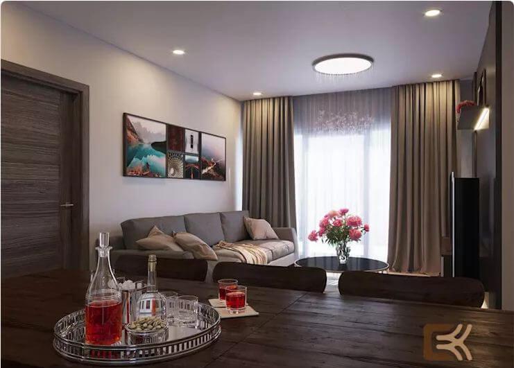 Nội thất phòng khách sang trọng và đẳng cấp - Thiết kế nội thất chung cư 2 phòng ngủ - 1