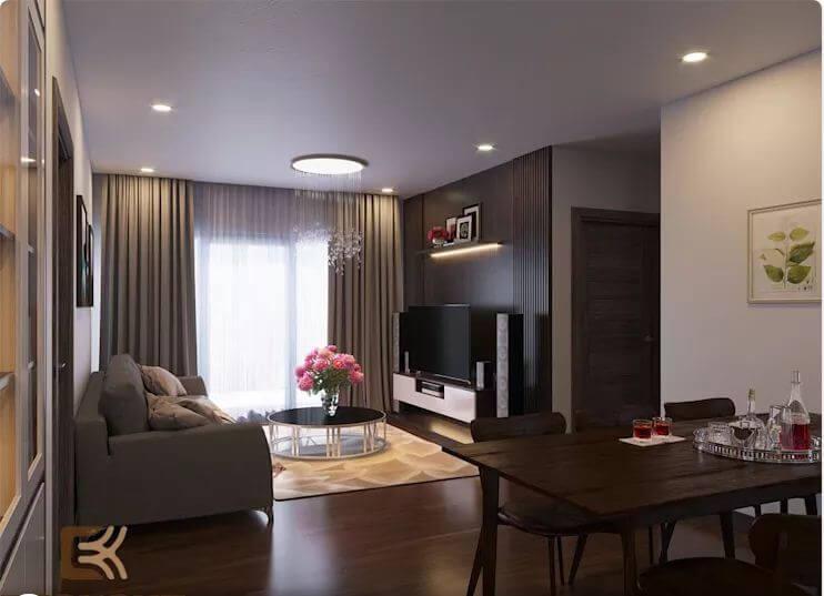 Nội thất phòng khách sang trọng và đẳng cấp - Thiết kế nội thất chung cư 2 phòng ngủ