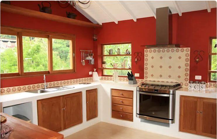Nhà bếp với tone màu nổi bật - Nhà đẹp 1 tầng