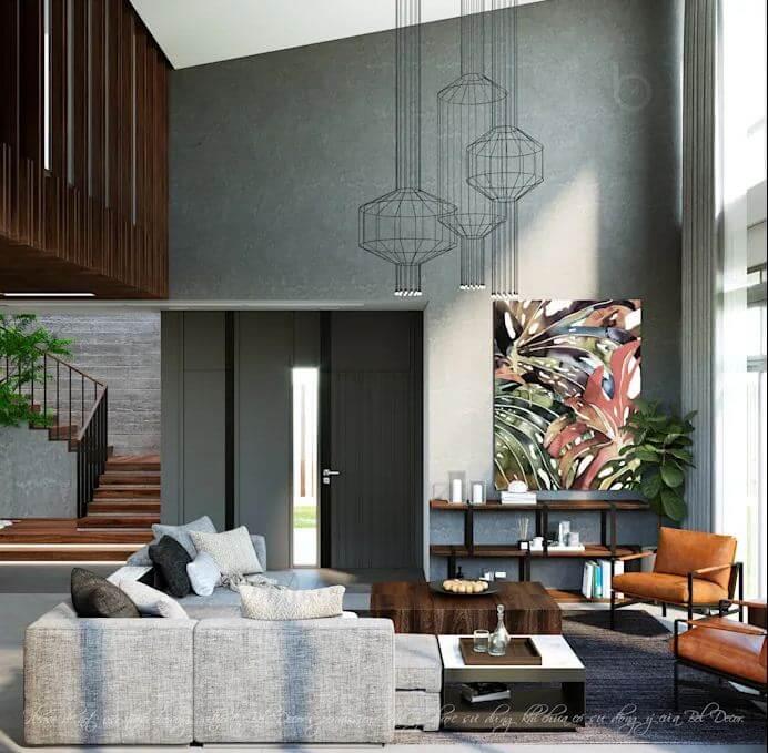 Phòng khách thoáng đãng với nội thất cuốn hút - Nhà phố hiện đại
