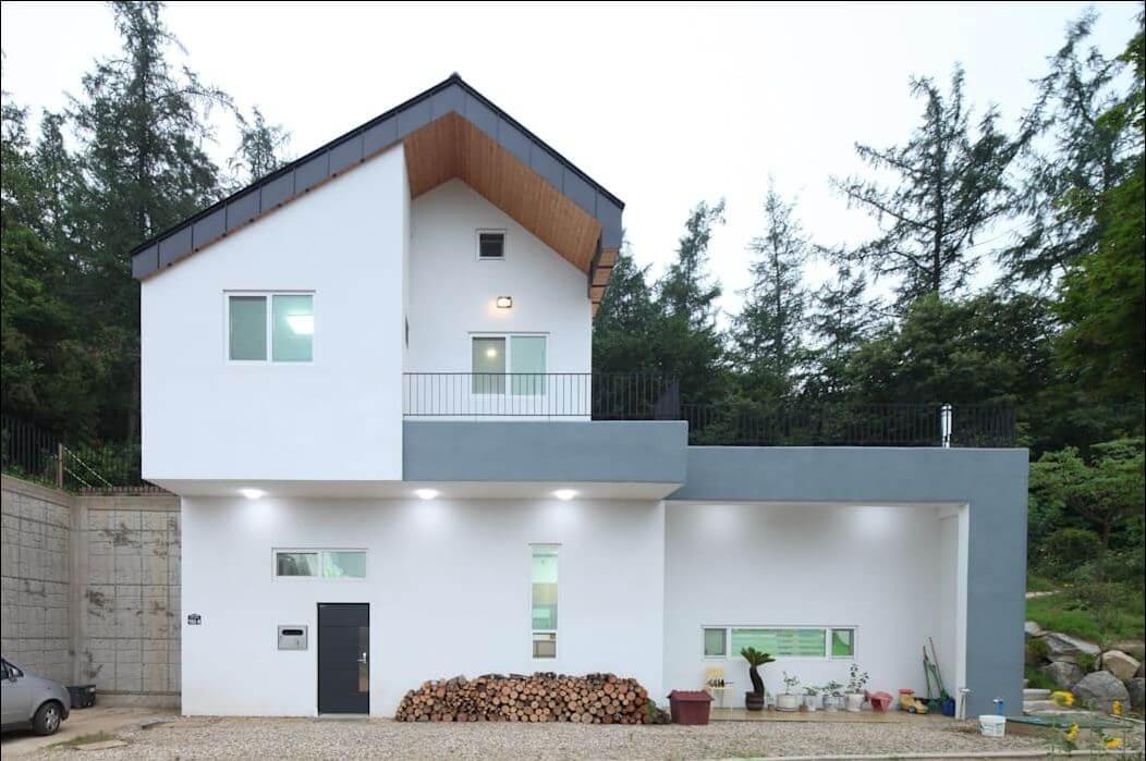 Nhà 2 tầng với mặt tiền đơn giản - Nhà văn phòng